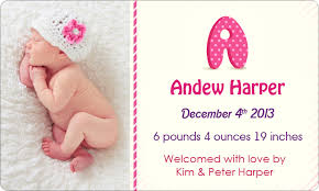 Printed Birth Announcement Personalized 3x5 Inch Printed Birth Announcement Full Color Round