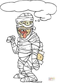 Small Picture Scary Mummy with His Tongue Hanging out coloring page Free