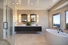 modern master bathroom. Wonderful Interior Master Bathroom Using Built In Lamp Also Hanging Cabinet Modern