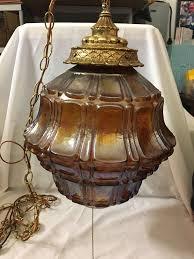 vintage large glass globe hanging swag lamp chandelier orange opalescent
