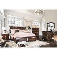 Furniture of America Barelle I Cherry 4Piece Bedroom Set Option King
