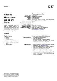 Data Sheet For D57 Resene Woodsman Wood Oil Stain
