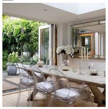 Dining room inspiration. Love! French inspired. Modern and rustic. Acrylic  ghost chairs