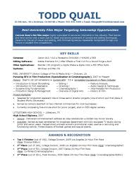 film student internship resume resume film resume sample cover
