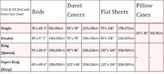 king sheet size size chart