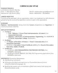 Sample Curriculum Vitae For B Tech Freshers Fresher Resume with Project  Details chiropractic Fresher Resume with. Diploma Electrical Engineering  Resume