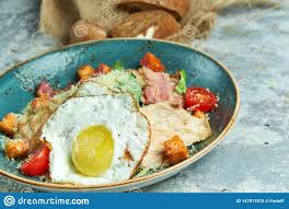 Light Egg Dishes Caesar Salad With Fried Egg Beautiful Serving Dishes Light