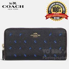 COACH F59059 Accordion Zip Wallet in Perforated Crossgrain Leather   Gold Black