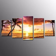 landscape canvas prints coconut trees sunset wall art home decor 5pcs no frame on sunset wall art canvas with landscape canvas prints coconut trees sunset wall art home decor