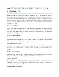 10 Words That Devalue A Resume