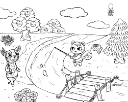 Fall is definitely in the air on this printable. Animal Crossing Village Fishing Coloring Pages Printable