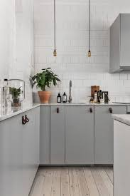White Tile And Grey Kitchen Potted Plants