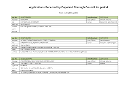 Applications Received by Copeland Borough Council for period