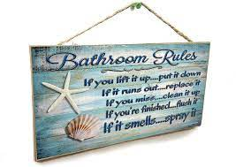 Amazon Com 5 X10 Seashells Bathroom Rules If It Smells Spray It Beach Sign Plaque 10 Inches By 5 Inches Office Products
