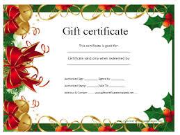 Printable Christmas Certificates 100 KB Jpeg Free Printable Christmas Gift Certificate Template 14