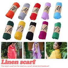 Generic <b>New Cotton Linen Scarf</b> Solid Color Monochrome Candy ...