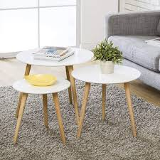 wood coffee table round set of 3 modern decor end side table night stand table