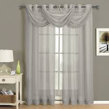 com abri gray silver grommet crushed sheer curtain panel 50x84 inches by royal hotel home kitchen