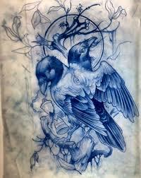 эскизы ворон значение татуировки с вороной