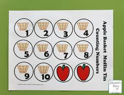 Counting Worksheets - Apple Basket Muffin Tin Numbers