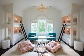 stylish bedroom design with kids four beds pillows chairs table ladders  window carpet traditional room chandelier