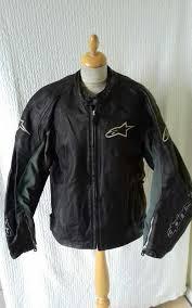 alpinestars leather black biker motorcycle jacket size l chest 46