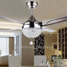 whole crystal lamp shade and 18w changeable light color ceiling fan light with remote control and stainless steel blade free