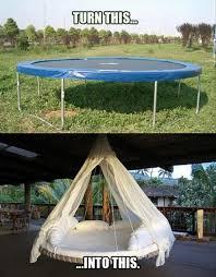 DIY Trampoline Hanging Bed