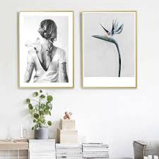 <b>Fasion Girl</b> Flower Wall Art Canvas Poster Motivational Quotes Print ...