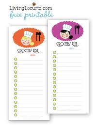 shopping lists free printable grocery shopping lists living locurto