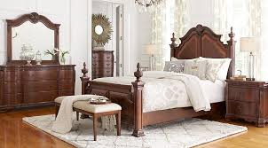 cherry wood bedroom set. Cortinella Cherry 5 Pc Queen Poster Bedroom - Sets Dark Wood Set