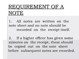 Note sheet writing