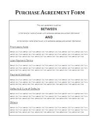 purchase agreement sample vehicle purchase agreement form free word templates purchase