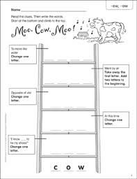 Words With Moo Moo Cow Moo Ew Ow Word Ladder K 1 Printable Skills Sheets