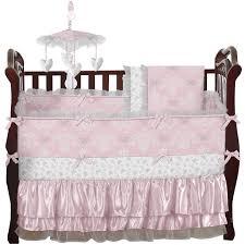 sweet jojo designs alexa 9 piece crib bedding set in pink and white for nursery decoration