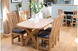 Furniture  Piece Dining Set Of Oak Cross Leg Dining Table And - Amish oak dining room furniture
