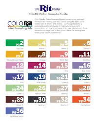 Rit Color Chart Colorit Color Formula Guide The Rit Studio Pages 1 36