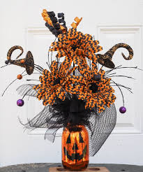 Jack-o-lantern mason jar halloween flower pot