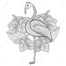 Coloring Page With Flamingo In Hibiskus, Zentangle Illustartion ...