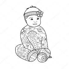 Babymeisje Kleurplaat Stockvector Marishayu 107585284 In Meisje