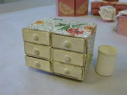 handmade dolls house furniture. Handmade Dolls House White And Floral Patterned Match Box Drawers. Furniture M