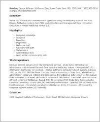 1 Netbackup Administrator Resume Templates Try Them Now