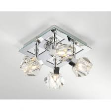 geo8550 geo 4 light modern ceiling light spotlight crystal and polished chrome finish