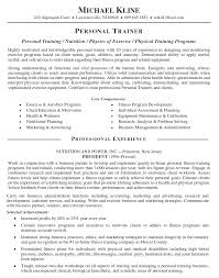 personal trainer resume professional experience