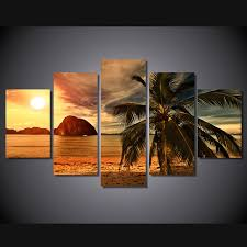 new 5 pieces sets canvas art canvas paintings tropical beach palm tree decorations for home on tropical wall art sets with new 5 pieces sets canvas art canvas paintings tropical beach palm