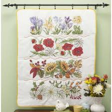 Craftways® Four Seasons of Flowers Lap Quilt Top St&ed Cross ... & Craftways® Four Seasons of Flowers Lap Quilt Top Stamped Cross-Stitch Kit Adamdwight.com