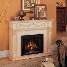 classicflame gossamer 55 inch electric wall mantel fireplace with traditional infrared log set antique ivory 28ii300gra gas log guys