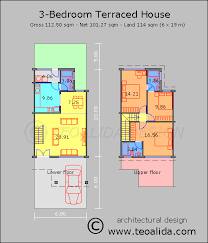architectural plans of houses. Rumah Teres 3 Bilik Tidur 110 Meter Persegi Architectural Plans Of Houses
