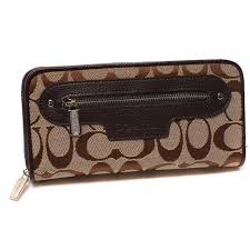 Coach Zip In Monogram Large Coffee Wallets DUK