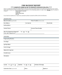 Injury Form Template Fire Incident Report Format School